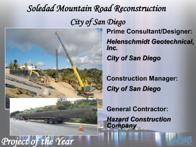 "HGI awarded ""APWA Project of the Year"" for the Soledad Mountain Road Landslide project"