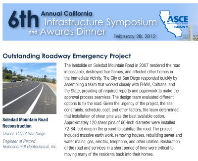 "HGI awarded ""ASCE Award of Excellence"" for Soledad Mountain Road Landslide Remediation Project"